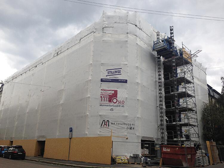 Heat shrink wrap for scaffoldings.