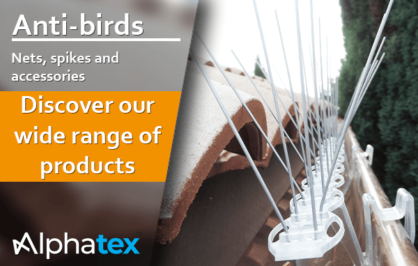 Alphatex pest control products -bied nets, spikes and accessories