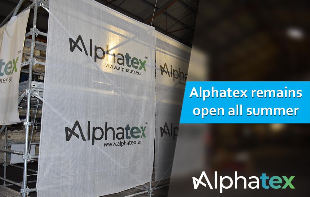 Alphatex, netting, tarpaulin and heat shrink film supplier stays open all summer 2021