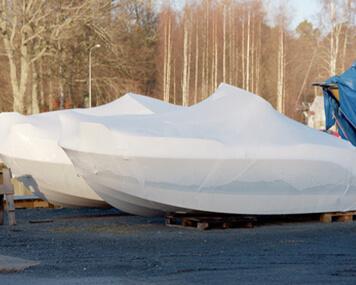 Heat shrink wrap for boats wintering.