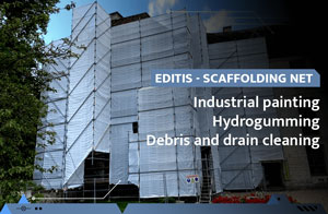 Scaffolding net for industrial painting, hydrogumming and water projection